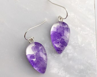 Ultra Violet Up-Side-Down Teardrop - Sterling Silver Watercolor Earrings