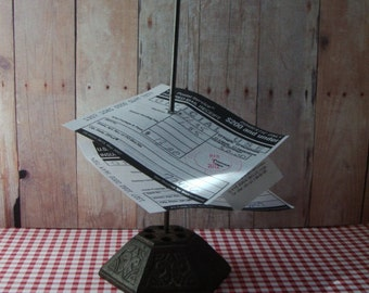 Ornate Vintage Cast Iron Receipt Holder - Organizes Bills, Receipts, Etsy Orders and Love Notes