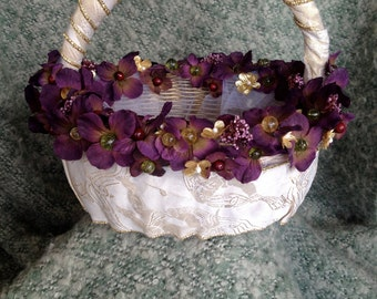 Burgundy and Gold Flower Girl Basket