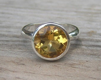 Citrine Gemstone Ring in Reycled Sterling SIlver Ring