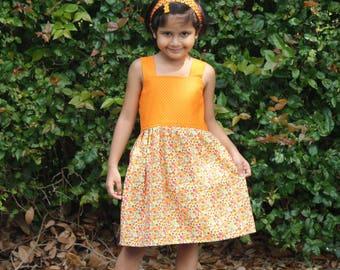 Girls Summer Dress, Girls Cotton Dress, Girls Orange Dress, Girls Dress