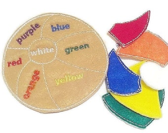 Felt Learn your colors beach ball puzzle game- educational game learning toy perfect for busy bags or quiet books #92GAME