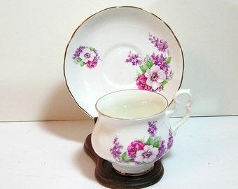 Connoisseur Fine Bone China English Teacup and Saucer, Floral Bouquet