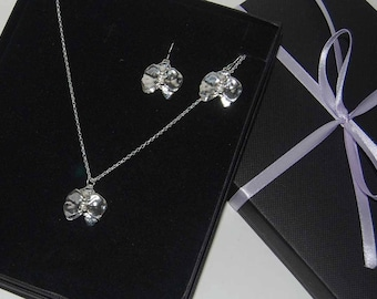 A Set of Orchid Earrings and Small Pendant/Handmade Sterling Silver Orchid Pendant and Earrings/Sterling Silver Flower/Silversmith Jewellery