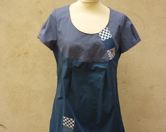 Blue cotton tunic with applique patchwork