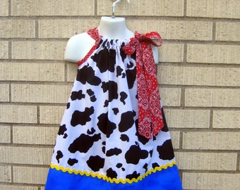 Cowgirl, cow print Pillowcase dress in sizes 6M to  8Y