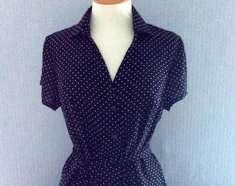 Polka dot black & white shirt dress with belt