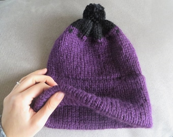Purple Hand Knit Double Brim Beanie