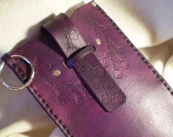 Large Multi-Purpose Violet Leather Case With Key Ring