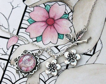 Necklace Wolf and cherry blossom