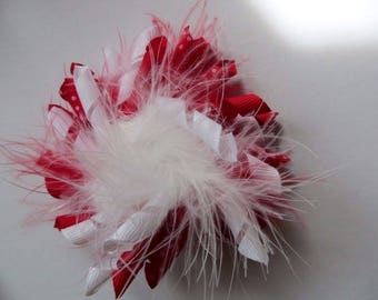 "Red Dotted and White Feather Loopy Puff 3.5"" Hair Bow"