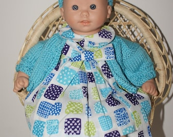 Doll 30 cm white dress printed with blue squares