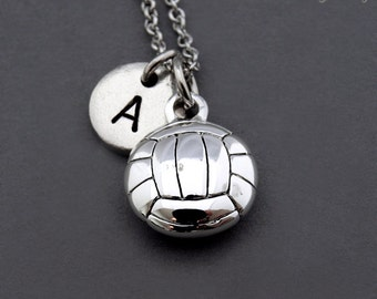 Volleyball necklace, volleyball charm, Volley Ball, Volleyball ball necklace, initial necklace, personalized, antique silver, monogram