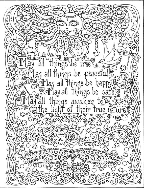 INSTANT Download Coloring Page 8 12 x 11 May all things be
