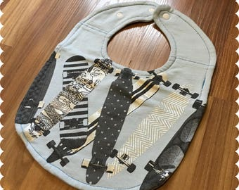Skateboard Baby Bib, Recycled T-Shirt Baby Bib, Baby Boy Baby Shower Gift, Skateboarding