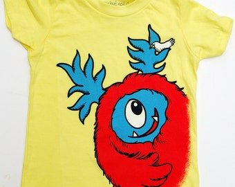 Kid's Monster T-Shirt - Yellow with Red Monster size 10