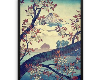 "Vintage Japanese Ukiyo-e Framed Art Print signed Landscape Poster by Kijiermono ""Suidi the Heights"" Wall Home Decor"