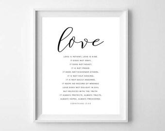 Love Is Patient Love Is Kind Print, , 1 Corinthians 13 Print, Love Is Patient Sign, Love Is Kind Sign, Wedding Aisle Signs, Bible Print