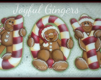Christmas ornaments gingerbread Joy pattern packet instant download