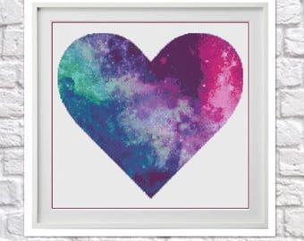 Galaxy Heart Counted Cross Stitch Pattern