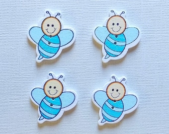 4 Wooden Bee Buttons -  #SB- 00114
