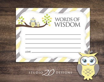 Instant Download Yellow Owl Advice Cards, Yellow Grey Owl Baby Shower Games, Gender Neutral Words of Wisdom, Printable Advice Cards 23G