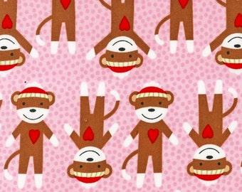 Critter Club Sock Monkeys  by Robert Kaufman in Pink, HALF yard