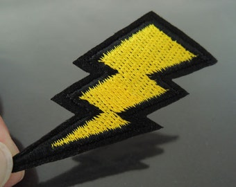 Flash Patches - Iron on Patches or Sewing on Patch Yellow Patches Embroidered Patch Lightning Bolt Embellishment