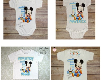 Baby Mickey Mouse 1st Birthday Onesie. Boys Birthday Onesie. Boys Mickey Mouse Outfit