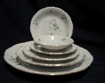 MITTERTEICH Green Ming Five (5) Piece Place Setting; Dinner Plate Salad Plate Bread & Butter Plate Soup Bowl And Dessert Bowl FREE SHIPPING
