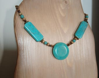 turquoise necklace turquoise stone and wood look