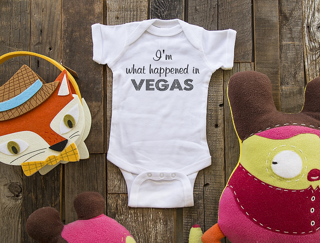 Im what happened in vegas cute funny baby one piece zoom negle Gallery