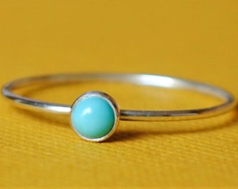 Turquoise / Ring / Sterling Silver/Gemstone/Thin Turquoise Ring/Tiny Ring/Stacking Ring/Custom Teeny Weenie Simple Stacker Mexican Turquoise