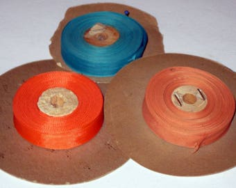 3 Partial Rolls Vintage Rayon Seam Binding for Crafting, Sewing, etc. - Orange, Turquoise, Coral
