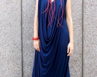 Navy Maxi Jumpsuit with Necklace and Bracelet, Plus Size Jumpsuit, Elegant Summer Jumpsuit TJ05 by TEYXO