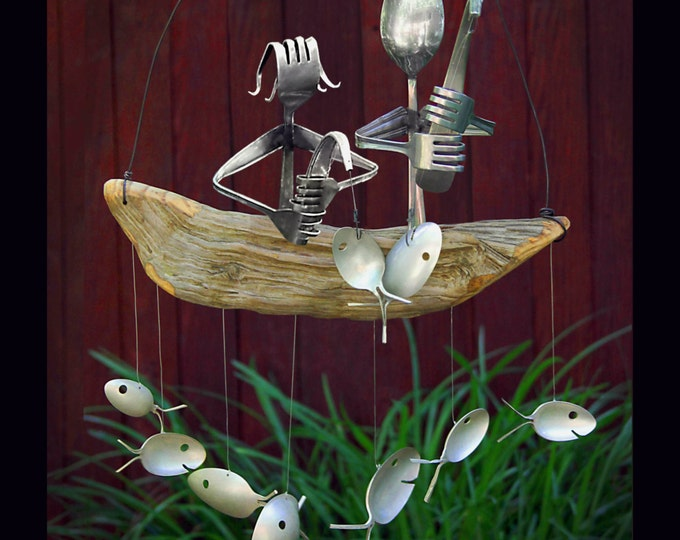 Father And Daughter Fishing Trip Chime With Skeleton Fish On Hooks, Gear Fish, 2 Blue Green Fish, 2 Rustic Grouper, 2 Silver Spoon Fish