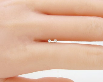 14k yellow/white gold solitaire 2.0mm cz lab created diamond pair of earrings