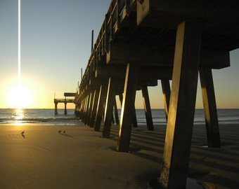 Sunrise at the Pier on Tybee Island GA No. 2, 8x10 ocean