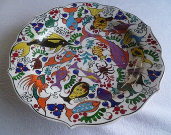 "Platter, Turkish ceramic platter, 12"" Platter, fish design, fish platter, large plate, serving platter, entertaining, wall art, wedding gift"
