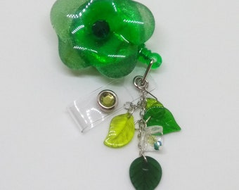 Green Badge reel Retractable ID holder with handmade Glass flower and glass leaf beads