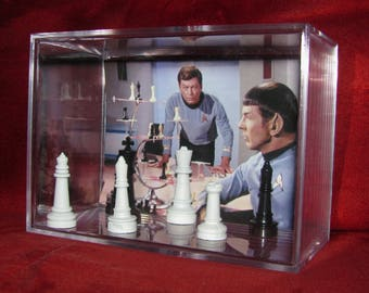 """Star Trek """"Mr Spock playing (Vulcan) Chess...inspired by display,ready to ship out..Brand New"""