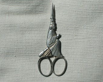 Antique Salem Witch Souvenir Scissors, Sewing, Germany, 1692 Massachusetts, Broom