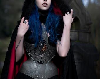 Black Forest Hooded Wool Sculptural Fantasy Cloak