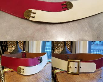 Vintage 70s 80s red and white leather belt xs 24""