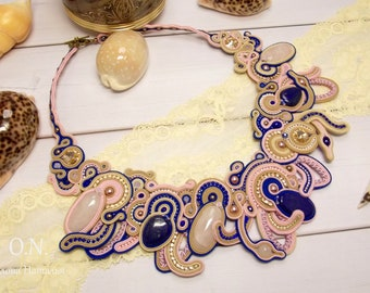 Soutache necklace with rose quartz and lapis lazuli Prom embroidered necklace Romantic birthday gift for her Statement jewelry for women