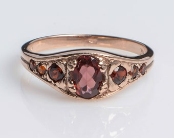 Garnet Birthstone Gold Ring - Red Garnet Ring - Gemstone Ring - Vintage Garnet Ring - January Ring - 14k Rose Gold Ring with Garnet