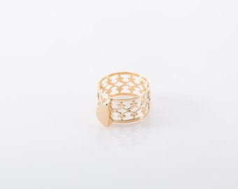 Filigree Band Ring, Ornate Gold Plated Ring, Fashion Designer Ring, Casual Bohemian Ring, Classic Ring For Women, Vintage Style Ring