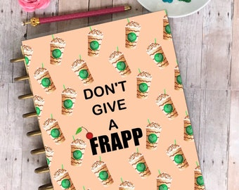 Planner cover, laminated, planner, stationery, wood, Dont give a Frapp
