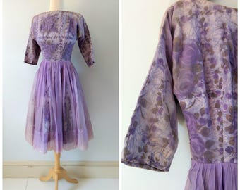 Vintage 1950s purple floral prom dress, tulle chiffon dress formal dress party dress, xs small