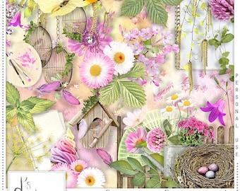 Spring Spirit - Digital Scrapbooking Kit - Vintage - Scrapbook - Printable